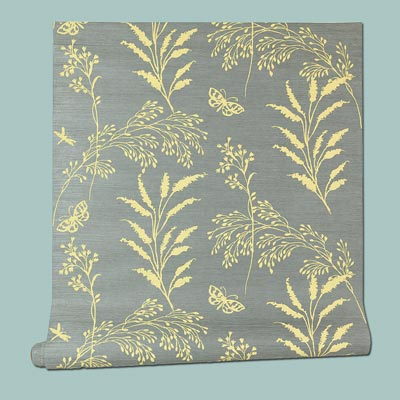Grasses in Blue grasscloth wallpaper