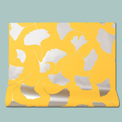 yellow Leone metallic ink wallpaper with gingko leaf pattern