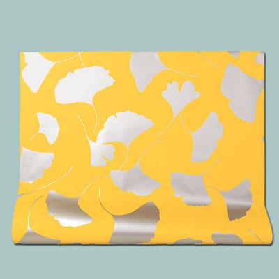 yellow Leone metallic ink wallpaper with gingko leaf pattern