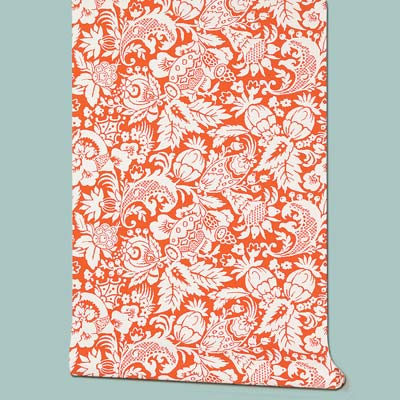 red and white Bali floral patterned wallpaper