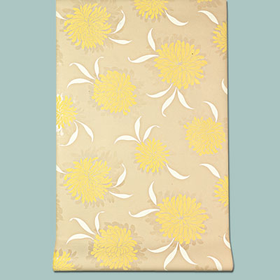 yellow floral vinyl Marianna wallpaper