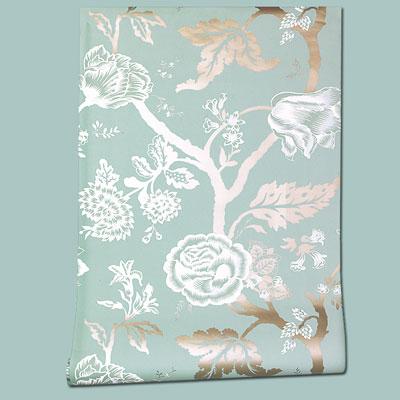 nonwoven blue-and-white Metallic Floral Fantasy wallpaper