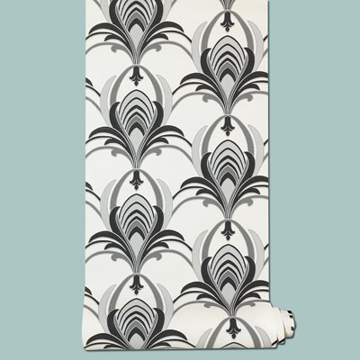 vinyl Glamour Art Deco wallpaper in black and white
