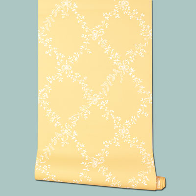 paper Toile Trellis wallpaper in yellow and white