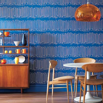 Loopy Lines in Rock-a-Billy-Blue wallpaper in a dining area
