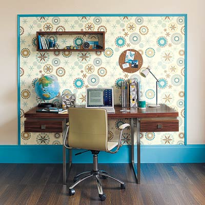 Lacework in Ocean nonwoven wallpaper surrounds a desk