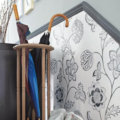 Peony in Black and White wallpapered wainscot on a stairway