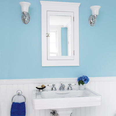 bath with white medicine cabinet and pedestal sink