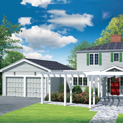 photo illustration showing remodeled house and garage with gabled roof and pergola