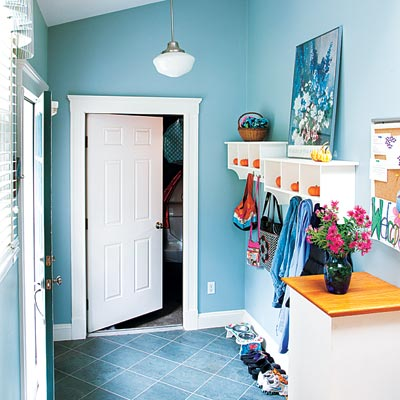 mudroom off of remodeled garage
