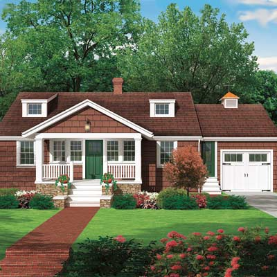 photoshop illustration of cottage exterior remodel