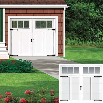 cottage with carriage door garage doors