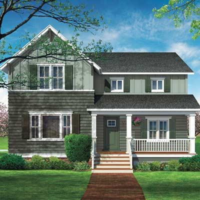 Photo illustration of farmhouse facade