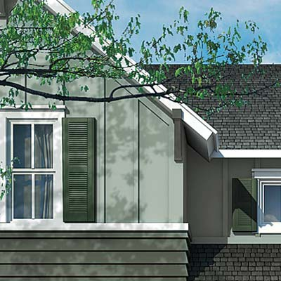 farmhouse with two different kinds of siding