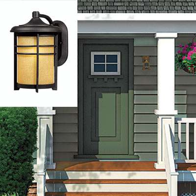 farmhouse with entry sconce