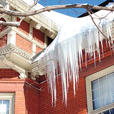 Ice dam on home exterior