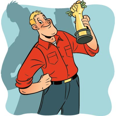 illustration of man holding trophy of hand gripping cash