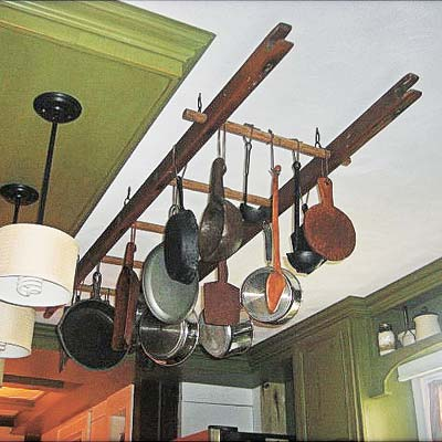 ladder salvaged into pot rack