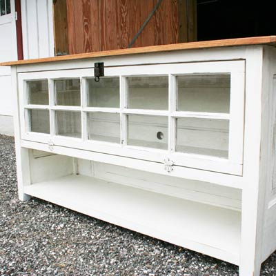 door and window salvaged into tv console