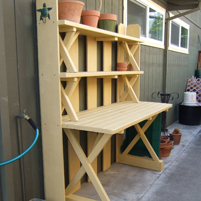 picnic table salvaged into potting bench