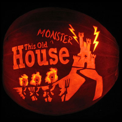 This Old Monster House carved pumpkin for contest