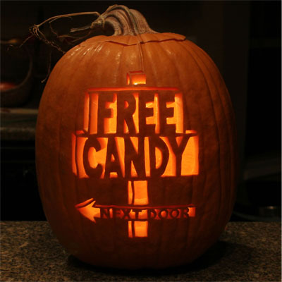 free candy next door carved pumpkin for contest