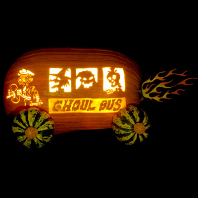 ghoul bus carved pumpkin for contest