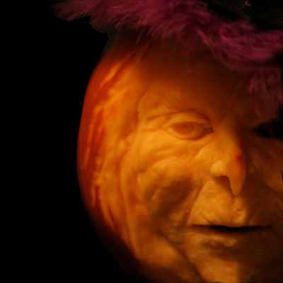 evil witch carved pumpkin for contest