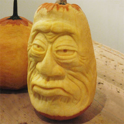 scary face carved pumpkin for contest