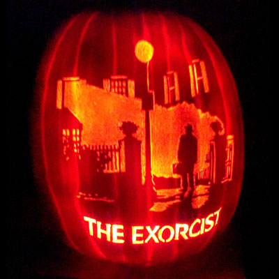 exorcist scene carved pumpkin for contest