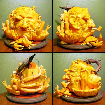 old man of the sea carved pumpkin for contest