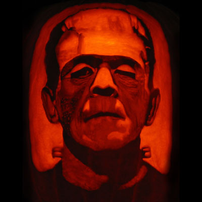 boris karloff frankenstein carved pumpkin for contest