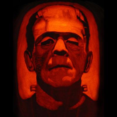 boris karloff frankenstein carved pumpkin for contest