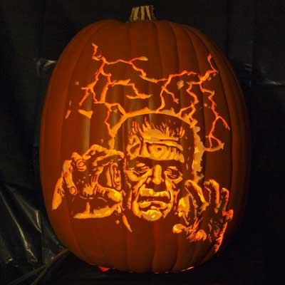 frankenstein carved pumpkin for contest