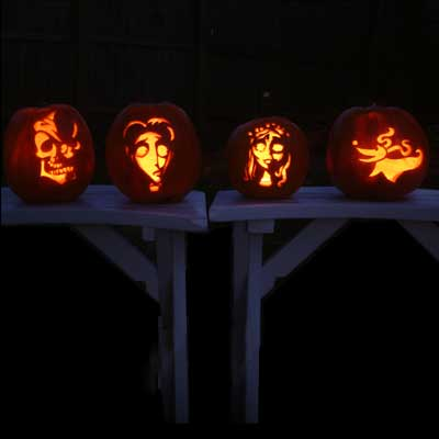 corpse bride characters carved pumpkins for contest