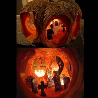 haunted graveyard carved pumpkin for contest