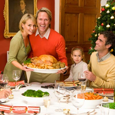 Family preparing for holiday dinner