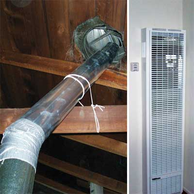 incorrect installation of both the ingle-wall vent pipe and turbine vent in newly remodeled house