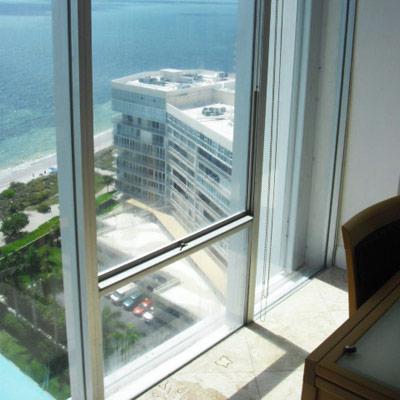 Single-hung window in hotel room