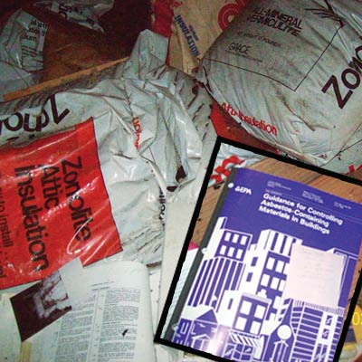 Bags of asbestos and reading material
