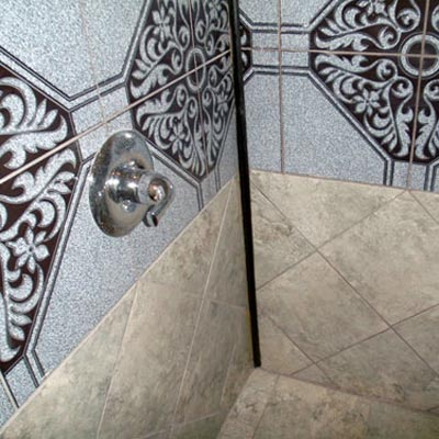 Shower with wood trim