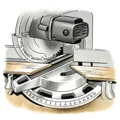 illustration of hands cutting crown molding with miter saw