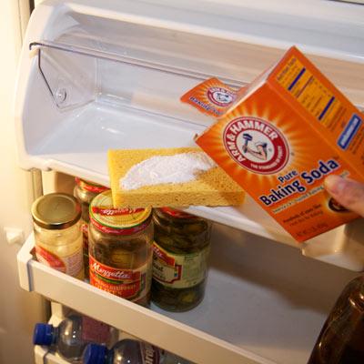 sponge sprinkled with baking soda to deodorize refrigerator
