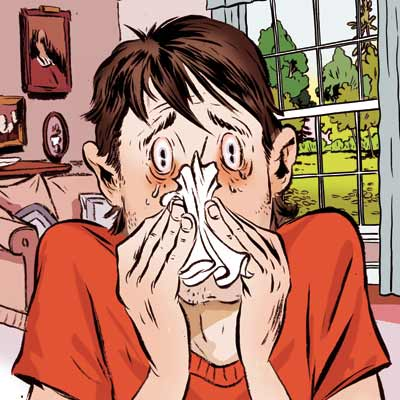 illustration of man with allergies