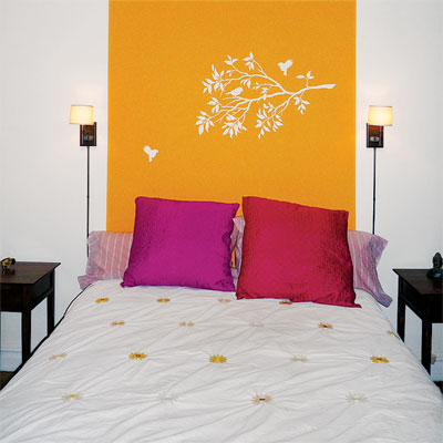 Master bedroom with painted headboard
