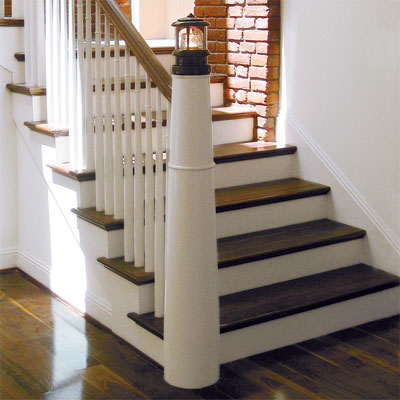 A Lighthouse-insired newel post and landing
