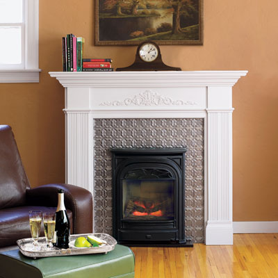 Tin-tile fireplace surround
