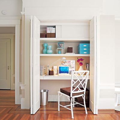 Closet office desk