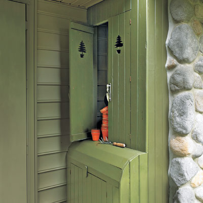 Outdoor built-in storage unit for easy spring upgrade