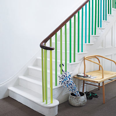 staircase with painted balusters for easy upgrade